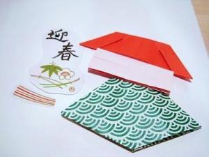簡単折り紙獅子舞の年賀状の作り方