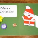折り紙 サンタクロースで 簡単クリスマスカード ☆親子で手作り