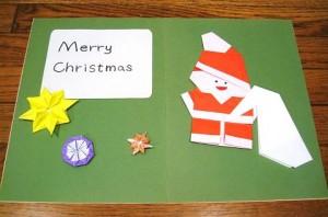 折り紙サンタクロースの手作りクリスマスカード