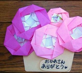折り紙 花カゴカード 母の日に