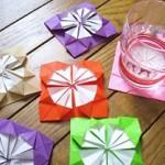 【折り紙 ダリアの折り方】お花コースターとしてすぐ使える。誕生日,母の日,クリスマスに!