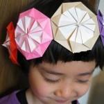 【折り紙 ダリア 七変化】 お花のカチューシャ バッジ メダルの折り方 ごっこあそびに!