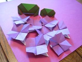 あじさい-折り紙-紫陽花-父の日-カード-手作り-作り方-折り方-花