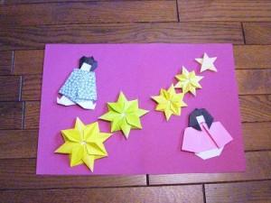 折り紙の織姫と彦星の七夕手作りカード星付き