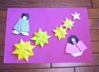 折り紙の手作り七夕カード織姫と彦星