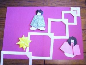 折り紙の織姫と彦星の七夕と七月の誕生日手作りカード四角つづりの天の川