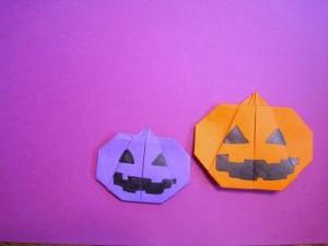 折り紙ハロウィンかぼちゃのカード作り方