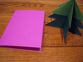折り紙モミの木のクリスマスカード台紙